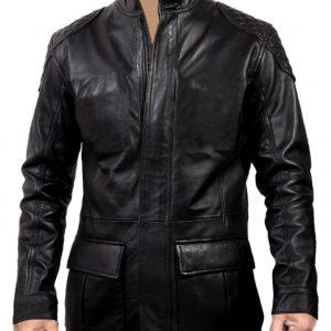 Men's Black Genuine Cowhide Leather Fashion Coat