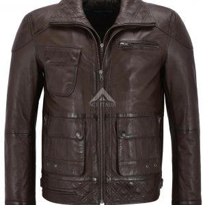 Men's Brown Soft Napa Stylish Luxury Casual Real Leather Fashion Jacket M-139