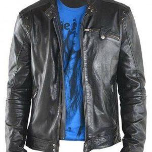 Men's Fashion Black Genuine Lambskin Leather Biker Jacket