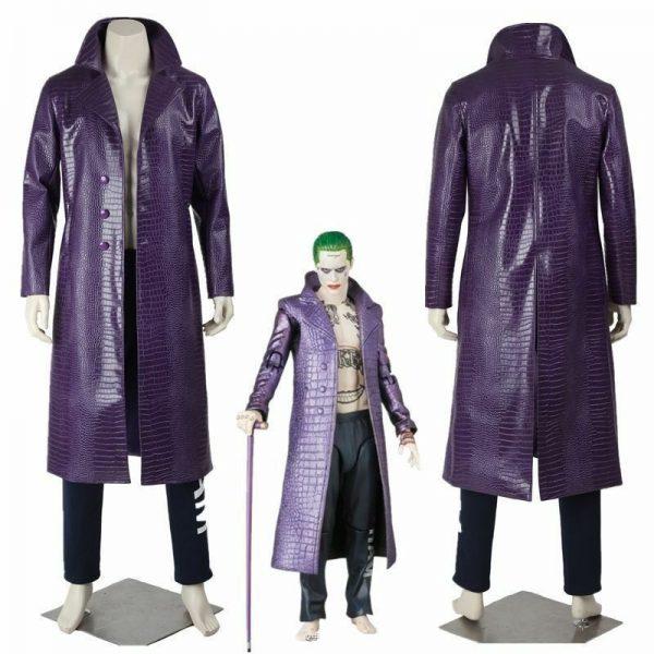 Men's Jared Leto Joker Classic Fashion Costume Suicide Squad Cosplay Purple Coat