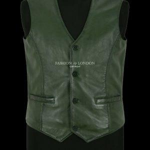 Men's Leather Waistcoat Vest Party Fashion Green Napa Stylish 100% Leather 5226
