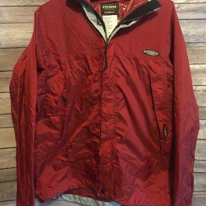 Mens Medium Stearns Dry Wear Rain Zip Jacket Outdoor Nylon Red Hoodie