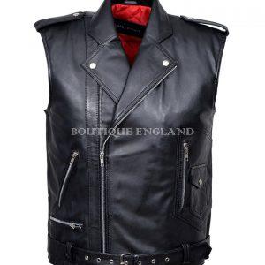Men's Party 3053 Black Fashion Biker Real Lambskin Napa Soft Leather Waistcoat