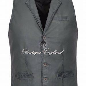 Men's Party Grey Fashion Classic Real Lambskin Napa Soft Leather Waistcoat 3530