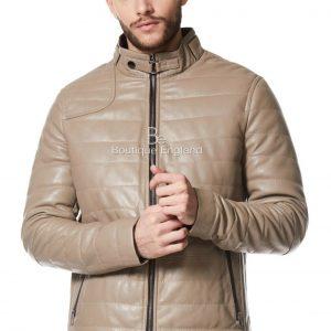 Men's Quilted Stone Beige Jacket   Italian Leather Fashion Icon Jacket NV-89