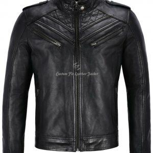 Men's Real Leather Jacket Black Quilted Design Biker Classic Fashion Jacket 2414