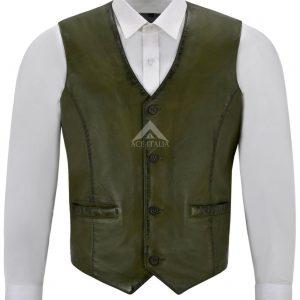 Men's Real Olive Green Leather Waistcoat Party Fashion Stylish Napa Leather 5226