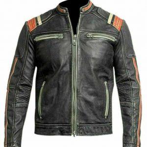 Men's Retro 3 Cafe Racer Biker Vintage Distressed Fashion Moto Leather Jacket