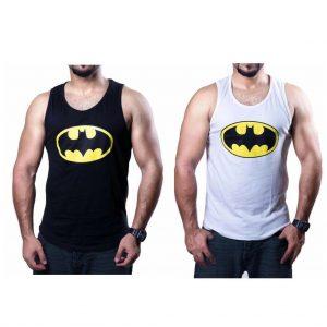 Men's White Black Vest Batman Fitness Fashion Summer Sleeveless Marvel Top