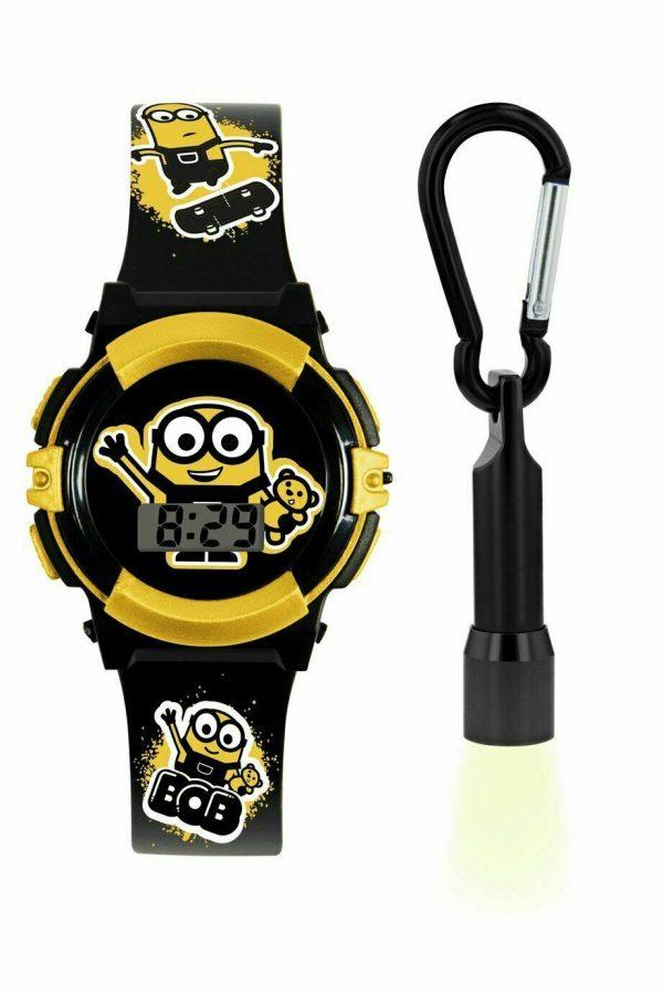 Minions Kid's Black Plastic Strap Watch And Torch Keyring Set NEW_UK