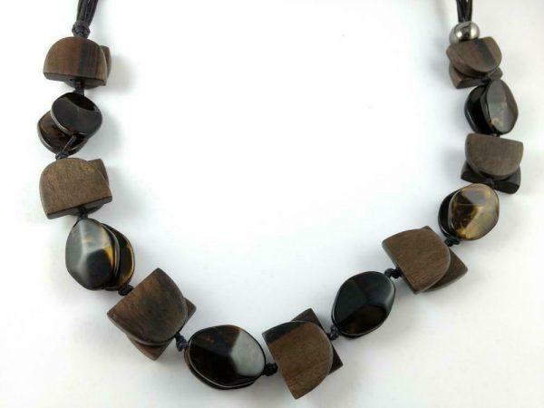 Modern Necklace Wood Retro Big Beads Statement Vintage Jewelry