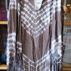 NEW! Entro Boho Women's Fashion Fringe Vest size Small - Brown TieDye - Ombre