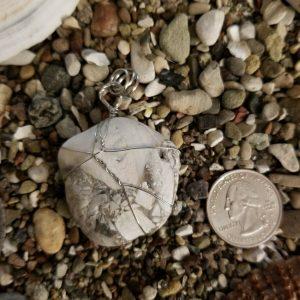 Natural Tumbled Beach Stone Pendant. Santa Barbara Collection.