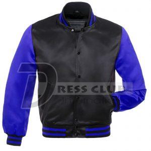 New Letterman Baseball College Varsity Jacket Sports Wear Black Royal Blue Satin