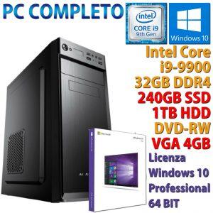 PC COMPUTER DESKTOP CORE i9-9900 RAM 32GB SSD 240GB HDD 1TB RX 550 WINDOWS 10