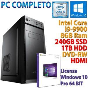 PC COMPUTER DESKTOP CORE i9-9900 RAM 8GB DDR4 SSD 240GB HDD 1TB WINDOWS 10 PRO