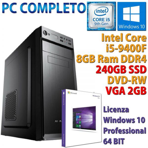 PC COMPUTER DESKTOP FISSO WINDOWS 10 CORE i5-9400F RAM 8GB SSD 240GB VGA 2GB