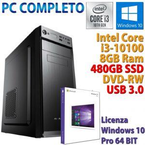 PC COMPUTER DESKTOP INTEL CORE i3-10100 RAM 8GB SSD 480GB DVD-RW WINDOWS 10 PRO