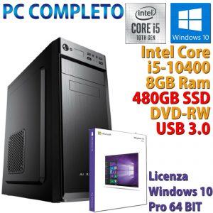 PC COMPUTER DESKTOP INTEL CORE i5-10400 RAM 8GB SSD 480GB DVD-RW WINDOWS 10 PRO