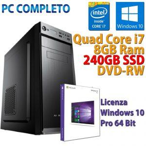 PC COMPUTER DESKTOP INTEL CORE i7-3770 RAM 8GB SSD 240GB DVD-RW WINDOWS 10 PRO