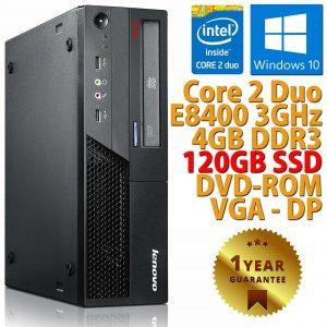 PC COMPUTER DESKTOP RICONDIZIONATO LENOVO DUAL CORE RAM 4GB SSD 120GB WINDOWS 10