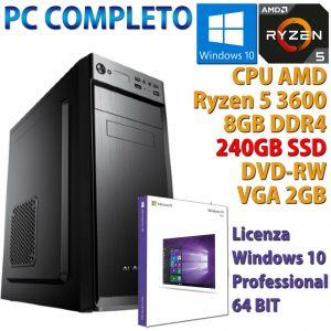 PC COMPUTER DESKTOP WINDOWS 10 ASSEMBLATO AMD RYZEN 5 3600 RAM 8GB SSD 240 GT710