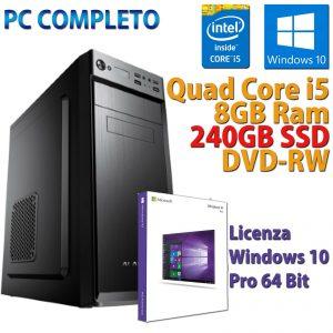 PC FISSO COMPUTER NUOVO ASSEMBLATO DESKTOP QUAD CORE i5 8GB SSD 240GB WINDOWS 10