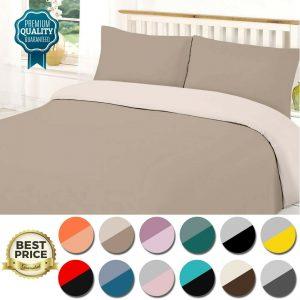 PLAIN DYED QUILT DUVET COVER SET Reversible Bedding Single Double King Bed Size
