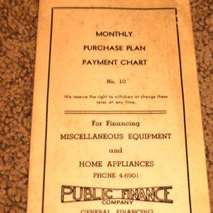 PUBLIC FINANCE (MONTHLY PAYMENT CHART) HOME APPLIANCES