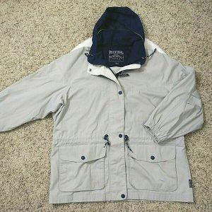 Pacific Trail Outdoor Wear Hooded Winter Jacket Beige/Blue Pockets Size XL