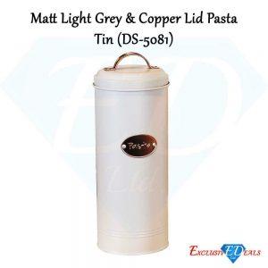 Pasta Tin in Matt Light Grey with Copper Lid Kitchen Appliances (DS-5081)