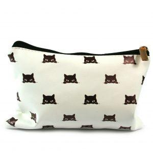 Peeping Black Cat Make-Up Bag Clutch Purse Pencil Case Wash Bag Beauty Products