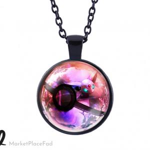Pokemon Cabochon Globe Pendant Necklace Black Chain Inside a Poke Ball ESPEON