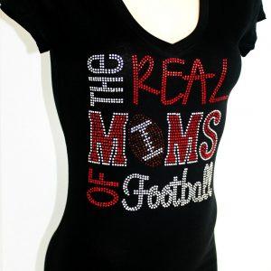 RHINESTONE THE REAL MOMS OF FOOTBALL JUNIOR SHEER V NECK SHIRT FOOTBALL MOM NEW