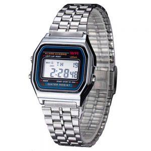 Reloj de pulsera Hombres Mujeres Vintage clásico metal digital Wrist Watch plata