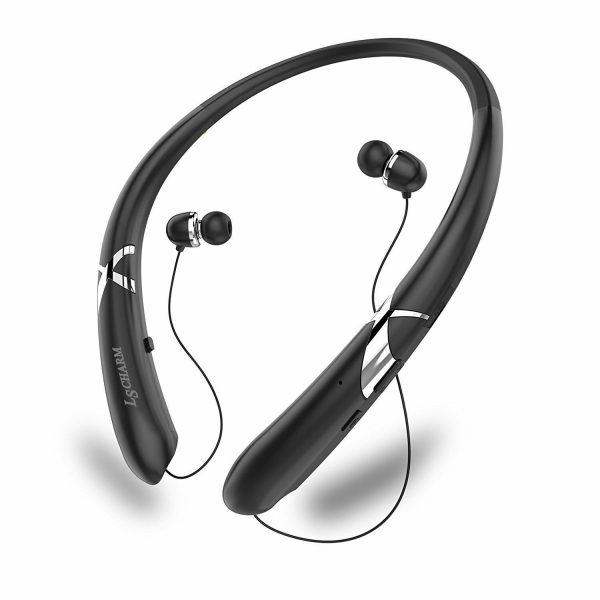 Retractable Neckband Sports Wireless Earphones Waterproof Noise Cancelling