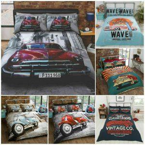 Retro Garage Route 66 American Duvet Cover Set USA Flag Classic Car Bedding Set