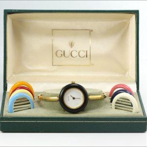 Retro Ladies GUCCI 11/12.2 Interchangeable Bezel Watch w/ Box & 8 Bezels