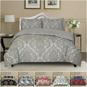 Reversible Floral Duvet Quilt Cover Bed Line Bedding Set Single Double King Size