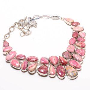 "Rhodochrosite Gemstone Silver Plated Necklace 18"""