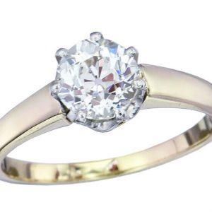 Ring Solitär Altschliff Diamant 1,15 Carat 585er Gelb- und Weißgold