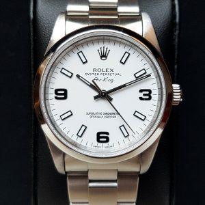 Rolex Air-King 14000 White Dial & Black Arabic Numerals 3 6 9