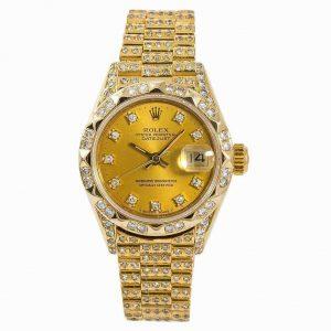 Rolex Datejust 69278 Womens Automatic Watch 7.50CT Diamond Bracelet Bezel 26mm