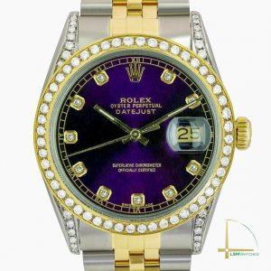Rolex Datejust Mens Two-Tone 36mm Purple Diamond Dial Bezel & Lugs Watch