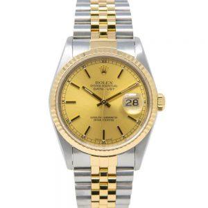 Rolex Men's Datejust Watch, Champagne Face, Yellow Gold & Steel, Jubilee, 16233