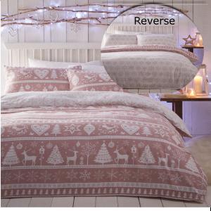 Scandi Pink Quilt Duvet Cover Bedding Bed Set Flannelette Brushed Cotton