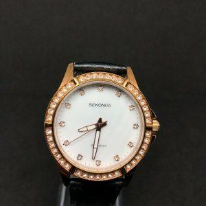 Sekonda Ladies Elegant Watch 2047AMT With Black Leather Strap Gold Coloured Case