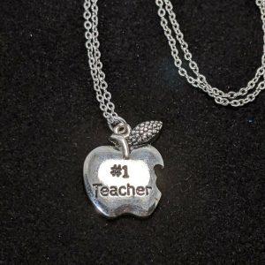 Silver Tone Apple #1 Teacher Pendant Necklace