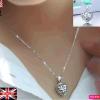 Sterling Silver Open Filigree Crystal Heart Locket Pendant Heart Necklace UK