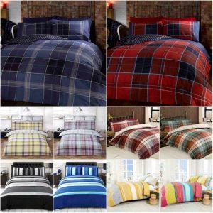 Stripe Tartan Check Duvet Cover Set Pillow Cases Quilt Cover Bedding Set